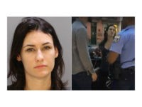 Left: Colleen Campbell in a Philadelphia Police Department photo. Right: A screengrab from the viral video taken outside of Helium Comedy Club on Sunday night.