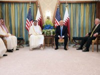 US President Donald Trump (C-R) and Qatar's Emir Sheikh Tamim Bin Hamad Al-Thani (C-L) take part in a bilateral meeting at a hotel in Riyadh on May 21, 2017. / AFP PHOTO / MANDEL NGAN (Photo credit should read MANDEL NGAN/AFP/Getty Images)