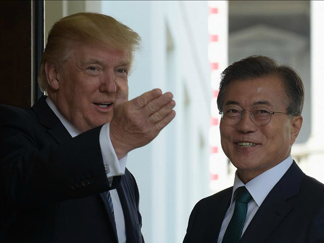 President Donald Trump welcomes South Korean President Moon Jae-in to the White House in Washington, Friday, June 30, 2017. (AP Photo/Susan Walsh)