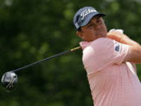 Jason Dufner of the US hits his tee shot on the first hole during the final round of the Memorial Tournament, at Muirfield Village Golf Club in Dublin, Ohio, on June 4, 2017