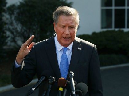 WASHINGTON, DC - FEBRUARY 24: Ohio Governor John Kasich (R-OH), speaks to reporters after a closed meeting with U.S. President Donald Trump, on February 24, 2017 in Washington, DC. Kasich is in Washington for the National Governors Association meetings. (Photo by Mark Wilson/Getty Images)