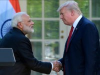 President Donald Trump and Indian Prime Minister Narendra Modi shake hands after making statements in the Rose Garden of the White House in Washington, Monday, June 26, 2017. (AP Photo/Susan Walsh)