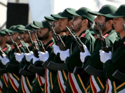 Iranian soldiers from the Revolutionary Guards march march during the annual military parade marking the anniversary of the start of Iran's 1980-1988 war with Iraq, on September 22, 2015, in the capital Tehran. AFP PHOTO / ATTA KENARE (Photo credit should read ATTA KENARE/AFP/Getty Images)