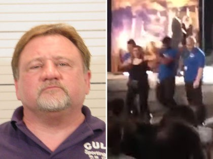 Mugshot of James T. Hodgkinson next to a still frame of conservative journalist Laura Loomer being led away from the stage by security at New York City's Shakespeare in the Park.
