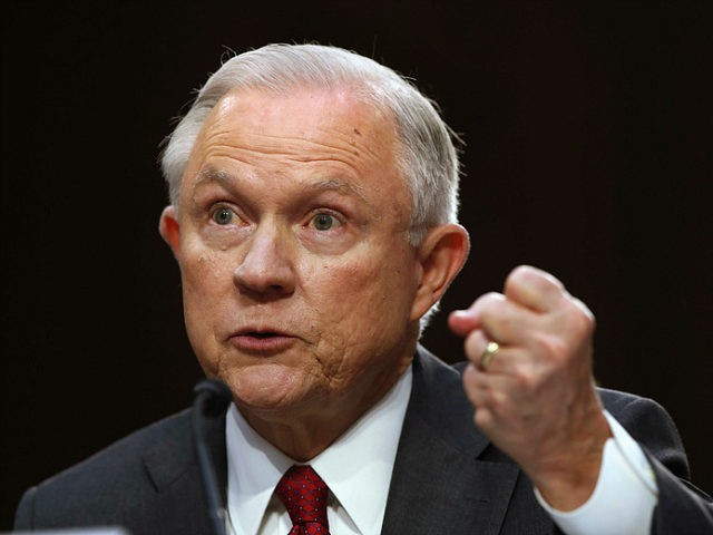 Attorney General Jeff Sessions gestures as he testifies on Capitol Hill in Washington, Tuesday, June 13, 2017, before the Senate Intelligence Committee hearing about his role in the firing of James Comey, his Russian contacts during the campaign and his decision to recuse from an investigation into possible ties between …