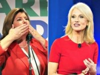 karen handle blows kiss-kellyanne-conway-red