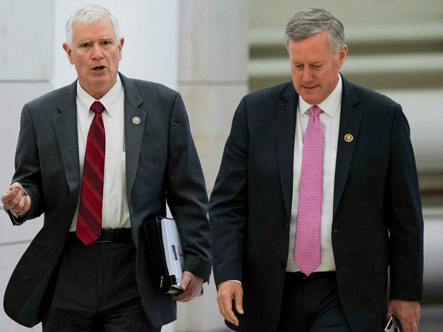 Rep. Mo Brooks, R-Ala., and Rep. Mark Meadows, R-N.C., chair of the House Freedom Caucus, arrive for the news conference on Affordable Care Act replacement legislation on Wednesday, Feb. 15, 2017. (Photo By Bill Clark/CQ Roll Call)