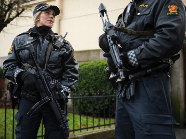 Armed police guard the Nobel institute ahead of a press conference with the Nobel Peace Prize laureates, the Tunisian National Dialogue Quartet in Oslo on December 9, 2015.