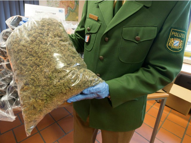 A policeman shows a bag with seized marijuana during a press conference in Passau, southern Germany, on October 20, 2016. 230kg Marjuana were found in tubes of a truck. / AFP / dpa / Armin Weigel / Germany OUT (Photo credit should read ARMIN WEIGEL/AFP/Getty Images)