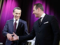 Austrian chancellor Christian Kern (L) and Austria's popular far-right Freedom Party (FPOe) chief Heinz-Christian Strache pose for photographers on November 23, 2016 ahead of a discussion at ORF-RadioKulturhaus in Vienna. / AFP / APA / GEORG HOCHMUTH / Austria OUT (Photo credit should read GEORG HOCHMUTH/AFP/Getty Images)