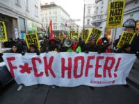 VIENNA, AUSTRIA - DECEMBER 03: Demonstrators participate in what organizers call the first 'F*ck Hofer' protest march through the city center to voice their opposition to Austrian right-wing populist presidential candidate Norbert Hofer on December 3, 2016 in Vienna, Austria. Voters in Austria are scheduled to take to the polls …