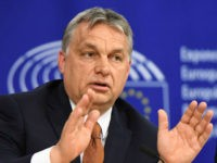 Hungary's Prime Minister Viktor Orban addresses a press conference after attending a plenary session at the European Parliament on the situation in Hungary, on April 26, 2017 in Brussels. The EU launched legal action against Hungary on April 26 setting up a major confrontation with Prime Minister Viktor Orban who …