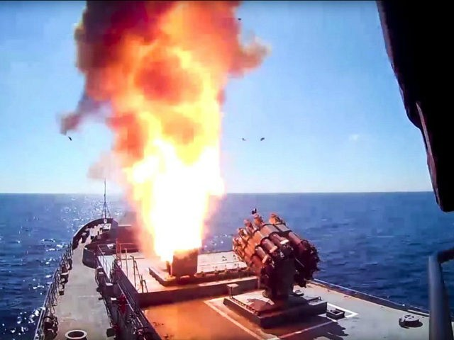 In this frame grab provided on Wednesday, May 31, 2017 by Russian Defense Ministry press service, long-range Kalibr cruise missile is launched by the Russian Navy Admiral Essen frigate in the Mediterranean. The Russian Defense Ministry said in a statement on Wednesday, that the Admiral Essen frigate and the Krasnodar …