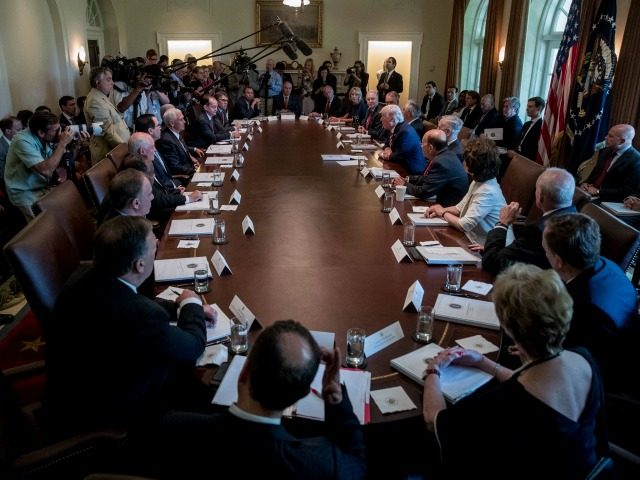 Who loves him more? Trump's cabinet members gush at meeting