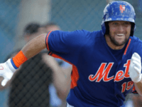 Tim Tebow runs to first base after putting the ball in play during an Instructional League game for the Mets against the St. Louis Cardinals on Wednesday, Sept. 28, 2016, in Port St. Lucie, Fla. Photo Credit: AP / Luis M. Alvarez