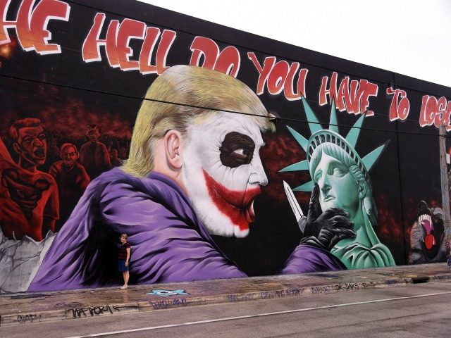 TOPSHOT - A woman poses for a photo in front of a Donald Trump mural covering a building in the Wynwood neighbourhood of Miami, Florida, on October 27, 2016. The Anti-Trump, batman themed mural was created by the artists of the Bushwick Collective ahead of the US presidential election. / …