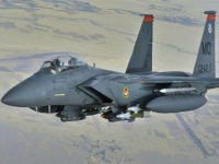 A U.S. Air Force F-15E Strike eagle in-flight over Afghanistan on Oct. 7 2008. (AP Photo/Aaron Allmon)