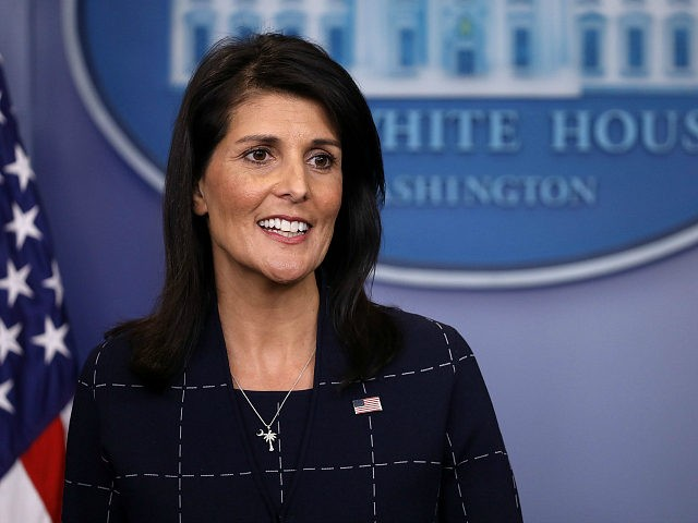 WASHINGTON, DC - APRIL 24: U.S. Ambassador to the United Nations Nikki Haley talks with reporters during the daily press briefing at the White House April 24, 2017 in Washington, DC. Haley briefed reporters about the meetings between U.S. President Donald Trump and the ambassadors representing the permanent members of …