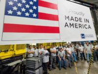 US manufacturers say orders are up but they are having trouble finding qualified workers, like these at the Hollywood Bed Frame Company in Commerce, California