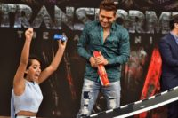 Isabela Moner and El Dasa, seen on the set of 'Despierta America' to promote the film 'Transformers: The Last Knight', at Univision Studios in Miami, Florida, on June 22, 2017
