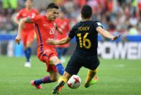 Chile's midfielder Charles Aranguiz (left) vies with Australia's defender Aziz Behich during a 2017 Confederations Cup match at the Spartak Stadium in Moscow on June 25, 2017