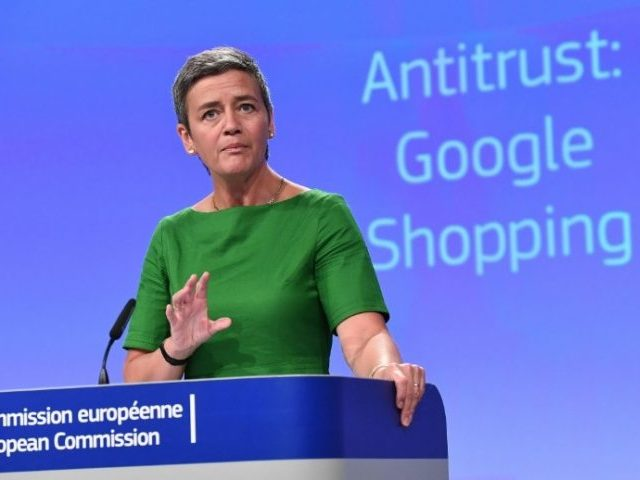 European Commissioner for Competition Margrethe Vestager addresses a press conference on an anti-trust case against US search engine Google at the European Commission in Brussels, on June 27, 2017