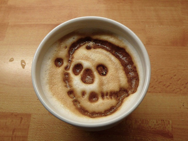 Skull in coffee (Peter Lindberg / Flickr / CC)