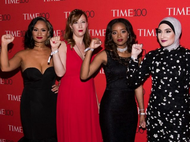 Carmen Perez, left, Bob Bland, Tamika D. Mallory and Linda Sarsour attend the TIME 100 Gala, celebrating the 100 most influential people in the world, April 25, 2017, in New York.