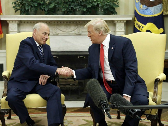 New White House Chief of Staff John Kelly shakes hands with President Trump at his swearing in ceremony. (EVAN VUCCI/AP)