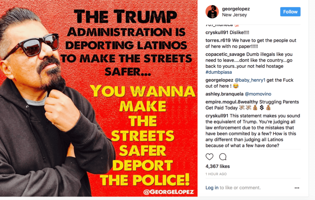 George Lopez suggests deporting police in his anti-Trump Instagram post.