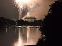 Fireworks explode over the Lincoln Memorial, the Washington Monument and the US Capitol in celebration of Independence Day in Washington, DC on July 4, 2015 . AFP PHOTO/MLADEN ANTONOV (Photo credit should read MLADEN ANTONOV/AFP/Getty Images)