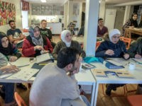 KLADESHOLMEN, SWEDEN - FEBRUARY 10: Refugees attend to Swedish language class at the temporary house for asylum seekers of the Vattendroppen school on February 10, 2016 in Kladesholmen, Sweden. Last year Sweden received 162,877 asylum applications, more than any European country proportionate to its population. According to the Swedish Migration …