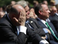 Gary Cohn wipes his brow as President Trump announces the U.S. will exit Paris Climate deal.