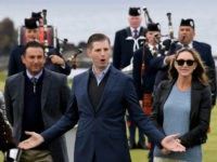 TURNBERRY, SCOTLAND - JUNE 28: Eric Trump and his wife Lara attend the opening Trump Turnberry's new golf course the King Robert The Bruce course on June 28, 2017 in Turnberry, Scotland. Formerly the Kintyre Course, it has been redesigned and upgraded and forms the second course to the acclaimed …