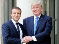 PARIS, FRANCE - JULY 13: French President Emmanuel Macron welcomes US President Donald Trump prior to a meeting at the Elysee Presidential Palace on July 13, 2017 in Paris, France. As part of the commemoration of the 100th anniversary of the entry of the United States of America into World …
