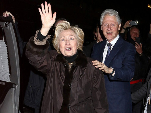 "Former Secretary of State Hillary Clinton and former President Bill Clinton attend the Broadway a cappella musical ""In Transit"", at Circle in the Square Theatre, on Wednesday, Feb.1, 2017, in New York. (Photo by Greg Allen/Invision/AP)"