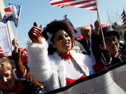 WASHINGTON, DC - MARCH 4: Singer Joy Villa joins demonstrators near the Washington Monument during the March4Trump on March 4, 2017 in Washington, DC. Supporters gathered in cities nationwide to voice support for President Donald Trump. (Photo by Aaron P. Bernstein/Getty Images)