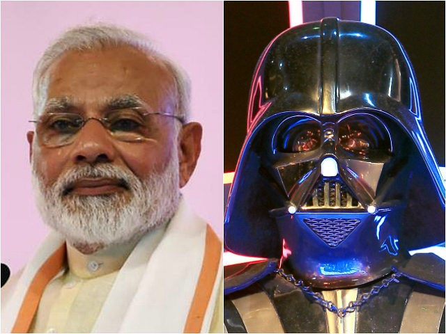 Indian Prime Minister Narendra Modi and Darth Vader costume