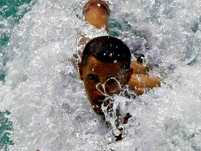 Obama Bodysurfing Alex Brandon, AP