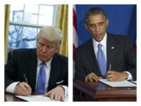 Collage of Trump and Obama signing executive orders