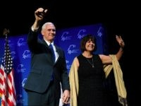 LAS VEGAS, NV - FEBRUARY 24: U.S. Vice President Mike Pence (L) and his wife Karen Pence are introduced at the Republican Jewish Coalition's annual leadership meeting at The Venetian Las Vegas on February 24, 2017 in Las Vegas, Nevada. Mike Pence's speech to the group of Republican Jewish leaders …