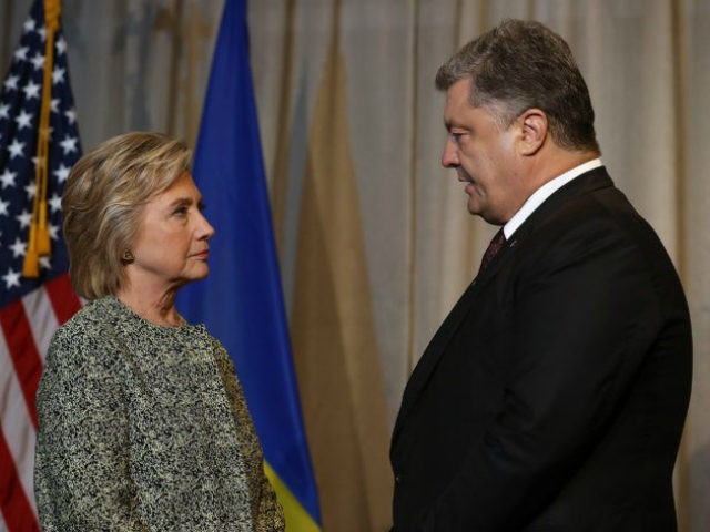 Democratic presidential nominee Hillary Clinton (L) meets with Ukrainian president Petro Poroshenko (R) at the Intercontinental Hotel on September 19, 2016 in New York City. Clinton is meeting with foreign leaders that are attending the United Nations General Assembly. (Photo by Justin Sullivan/Getty Images)