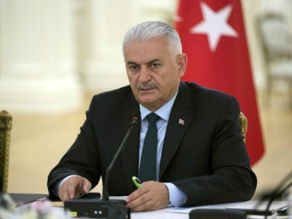 ANKARA, TURKEY - JULY 14: Prime Minister of Turkey Binali Yildirim meets media representatives at Cankaya Palace in Ankara, Turkey on July 14, 2017. (Photo by Utku Ucrak/Anadolu Agency/Getty Images)