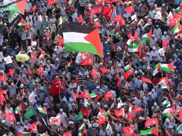 anti-Israel pro-Palestinian rally in Istanbul, Turkey July 30 2017