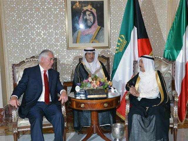 U.S. Secretary of State Rex Tillerson (L) meets with Emir of Kuwait Sabah Al-Ahmad Al-Jaber Al-Sabah in Kuwait City, Kuwait July 10, 2017. Kuwait News Agency (KUNA)/Handout via REUTERS