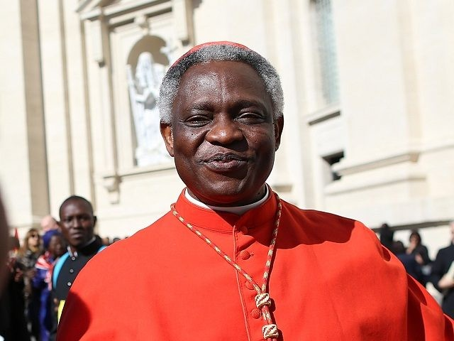 VATICAN CITY, VATICAN - FEBRUARY 22: Archbishop of Cape Coast, Cardinal Peter Appiah Turkson leaves St Peter's Basilica after attending the Consistory on February 22, 2014 in Vatican City, Vatican. 19 new cardinals have been created in a ceremony in the Vatican. (Photo by Franco Origlia/Getty Images)