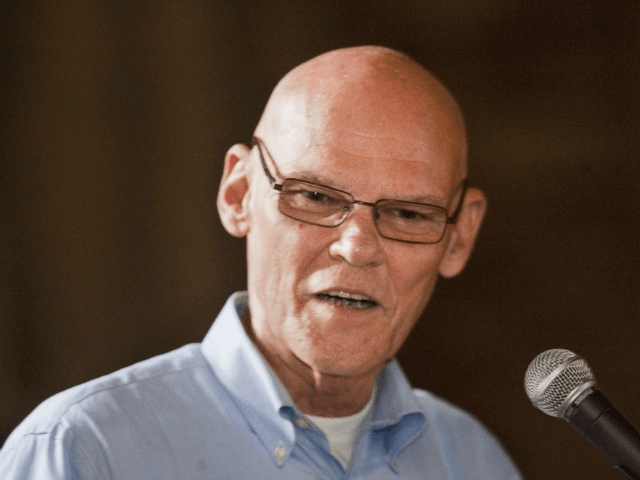 FREEPORT, ME - AUGUST 3: National Democratic strategist James Carville speaks during the annual Maine Democratic lobster bake fundraiser at Wolfe Neck Farm in Freeport on Sunday, August 3, 2014. (Photo by Carl D. Walsh/Portland Press Herald via Getty Images)