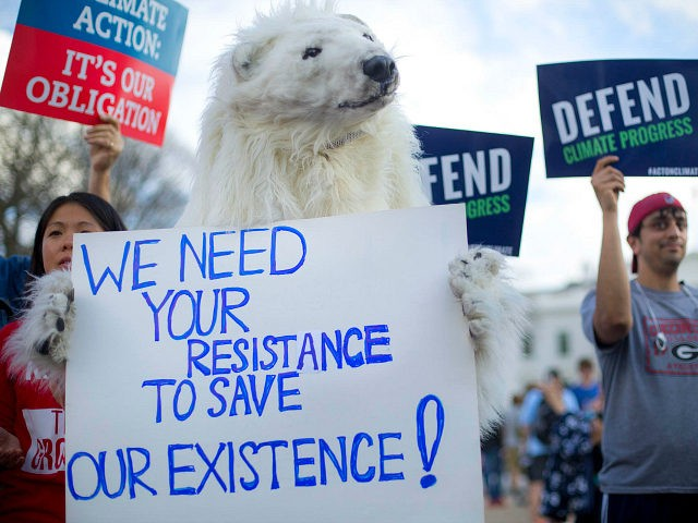 A demonstrator dressed as a polar bear joins others gather infront of the White House in Washington, Tuesday, March 28, 2017, during a rally against President Donald Trump's Energy Independence Executive order. Trump signed an executive order aimed at moving forward on his campaign pledge to unravel former President Barack …