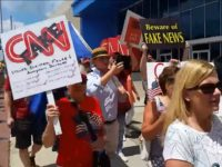 Americans Protest 'Very Fake News' CNN Outside of Atlanta Headquarters