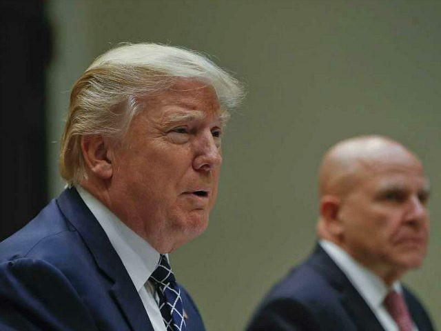 President Donald Trump, with National Security Adviser H.R. McMaster, right, speaks while having lunch with services members in the Roosevelt Room of the White House in Washington, Tuesday, July 18, 2017. (AP Photo/Pablo Martinez Monsivais)